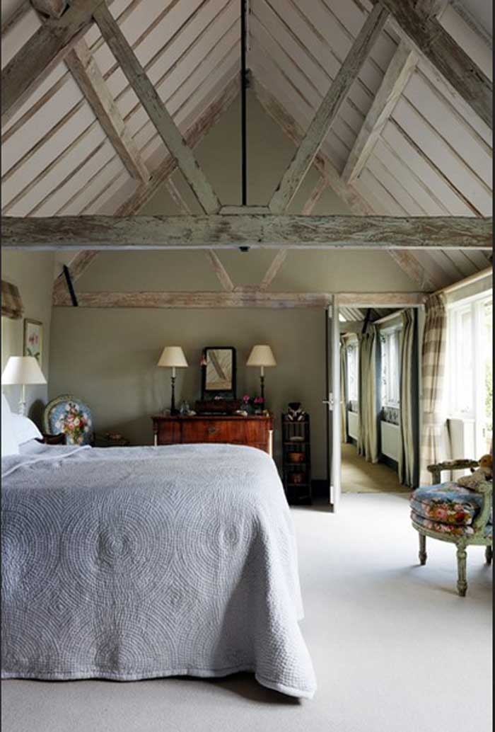 traditionelle Country Schlafzimmer Cotswolds grau