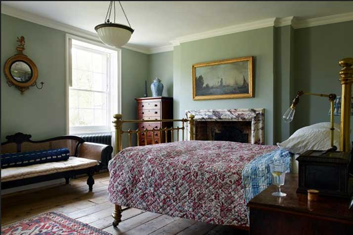 traditionelle Country Schlafzimmer Petrol blau